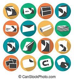 imprimindo, casa, teia, apartamento, cor, ícones, jogo