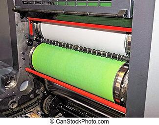 imprimindo, -, detalhe, offset, imprensa