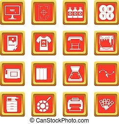 imprimindo, jogo, vermelho, ícones