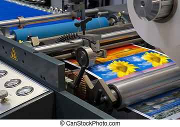 imprimindo, máquina