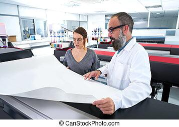 imprimindo, plotter, indústria, impressora, equipe
