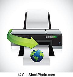 imprimindo, um, internacional, globo, ilustração, desenho