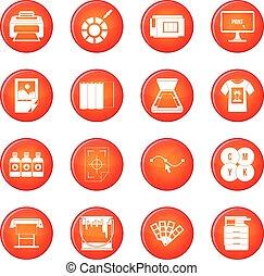 imprimindo, vetorial, jogo, ícones