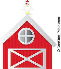 Imprimir - farm house with hen isolated over white...