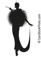 Imprimir - Silhouette of elegant lady smoking a pipe, ...