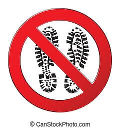 imprint., grunge, illustration., piste, step., interdit, botte, signe, vecteur, interdit, pas, symbole
