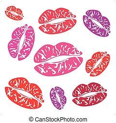 Imprint of the feminine lips on white background