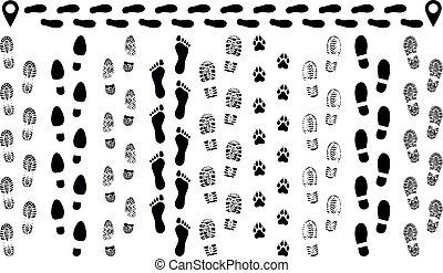 imprint., silhouette, chaussures, route, isolé, ensemble, pas, vector., empreinte, semelle, traces, chaussures