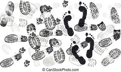 imprint., silhouette, chaussures, trace, route, gens, semelle, isolé, pas, chaussures, vector., empreinte, foules