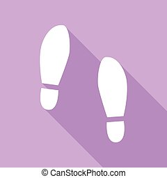 Imprint soles shoes sign. White Icon with long shadow at purple background.