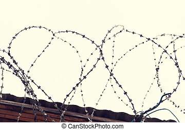 barb wire fence over gray sky