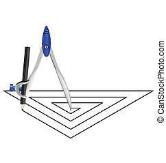 triangle spiral with a compass
