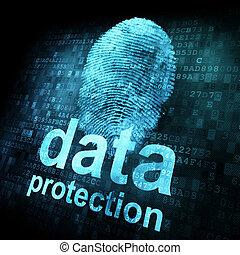 impronta digitale, e, protezione dati, su, digitale, schermo