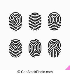 impronta digitale, set, icone