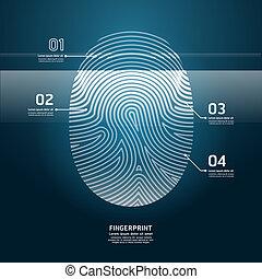 impronta digitale, vettore, illustration., scansione