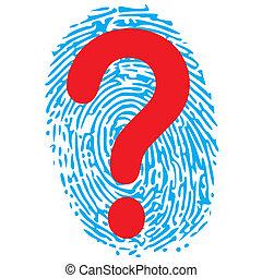 impronta pollice, punto interrogativo