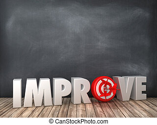 IMPROVE 3D Word with Target on Chalkboard Background