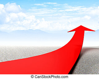 improve business - 3d image of huge red arrow in abstract ...