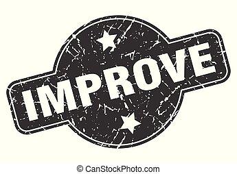 improve round grunge isolated stamp