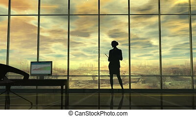 Improve the environmental situation, the silhouette of a woman in the office and infographics