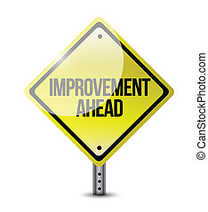 improvement ahead road sign illustration design over a white...
