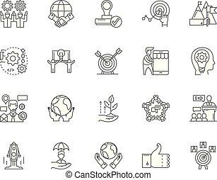 Improvement line icons, signs, vector set, outline illustration concept