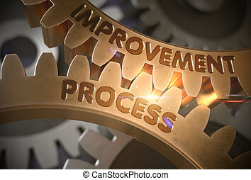 Improvement Process Concept. Golden Gears. 3D Illustration.