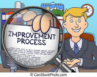 Improvement Process through Magnifier. Doodle Concept.