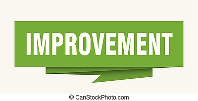 improvement sign. improvement paper origami speech bubble....