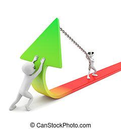 improvement!, statistica, image., persone, -, fondo., piccolo, bianco, 3d
