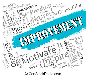 Improvement Words Shows Progress Upgrade And Development