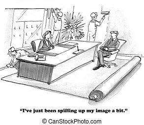 Improving Image - Business cartoon about a leader improving...