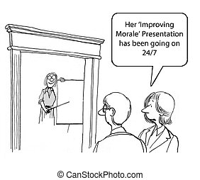 Businesswoman is trying to improve morale