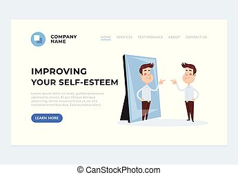 Improving self esteem psychology help web page banner concept. Vector flat cartoon graphic design illustration