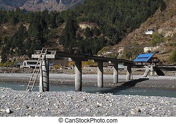 Improvised river crossing