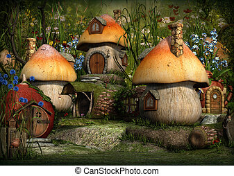 Imps Village, 3d CG - 3d computer graphics of a village with...