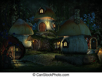 Imps Village by Night, 3d CG - 3d computer graphics of a...