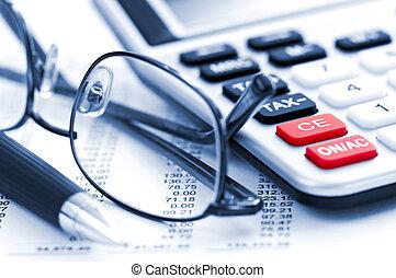 impuesto, calculadora, pluma y, anteojos