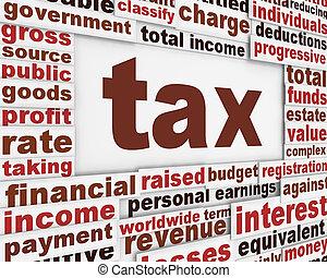 impuesto, cartel, fondo conceptual