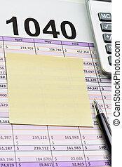 impuesto forma, 1040, hoja distribución, con, pluma, calculadora, y, sticker.
