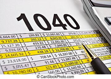 impuesto forma, 1040, hoja distribución, con, pluma y, calculator.