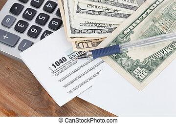 impuesto forma, con, calculadora, y, dinero