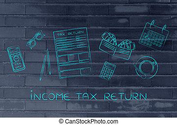 impuesto forma, con, escritorio de oficina, objetos, y, teléfono, alarma, subtítulo, impuesto sobre la renta
