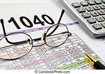 impuesto forma, con, pluma, calculadora, pluma y, glasses.