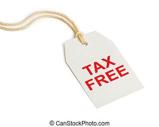 impuesto, libre, etiqueta