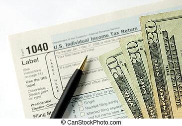 impuesto, mano, regreso, limadura, ingresos