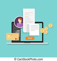 impuesto, pago, cuentas, facturación, paga, recibo, en línea