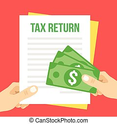 impuesto, plano, ilustración, regreso