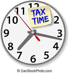 impuesto, reloj de tiempo, impuestos, debido, fecha