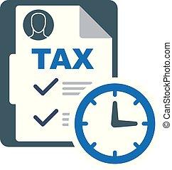 impuestos, tiempo, paga, lista de verificación, pago, icono,...